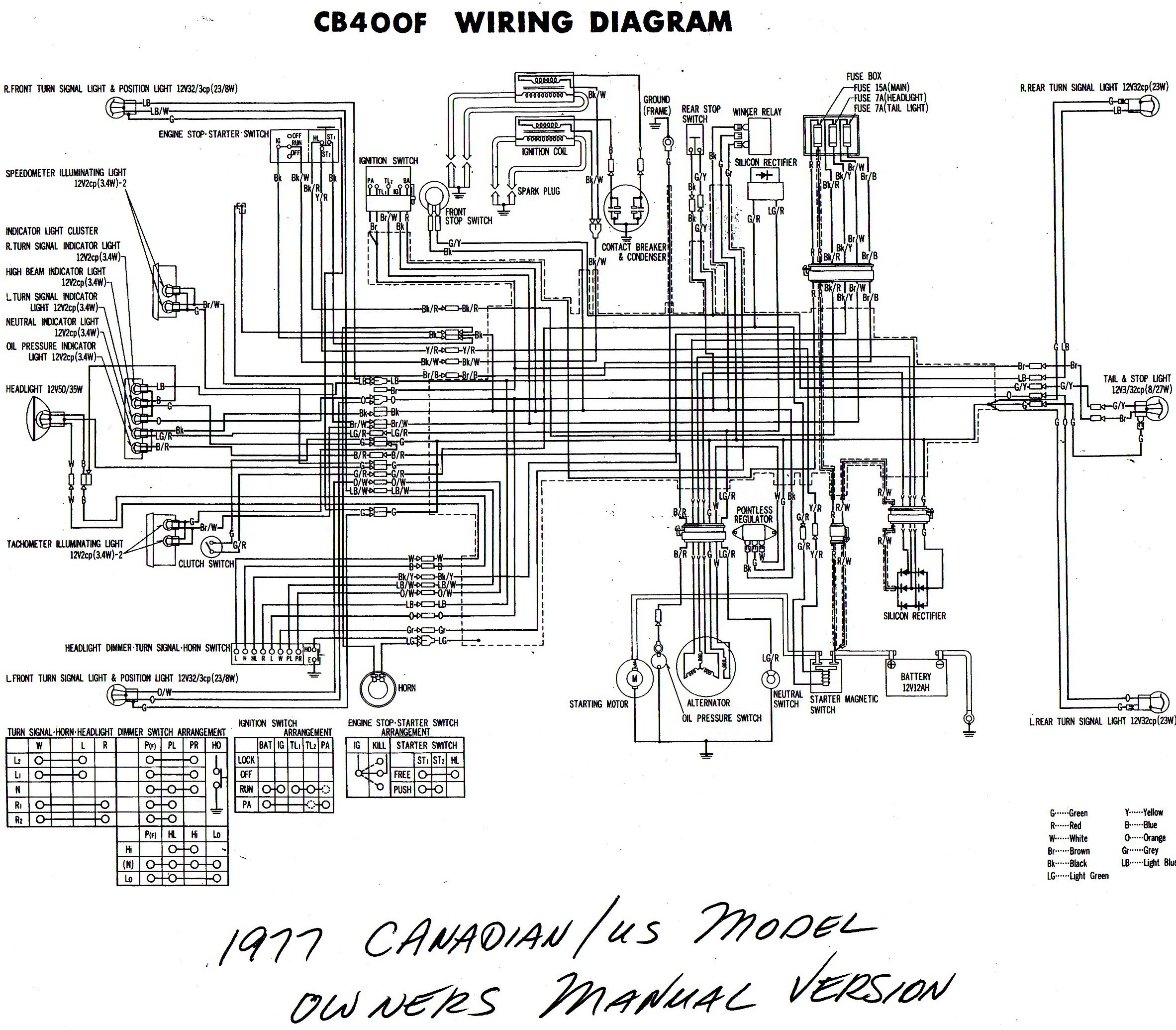 cb400f cb350 cb400 wiring diagram color