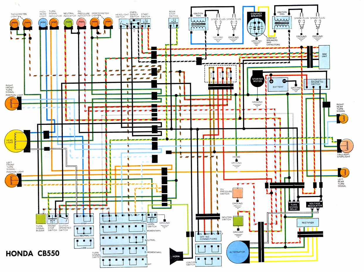 cb550 color wiring diagram all years