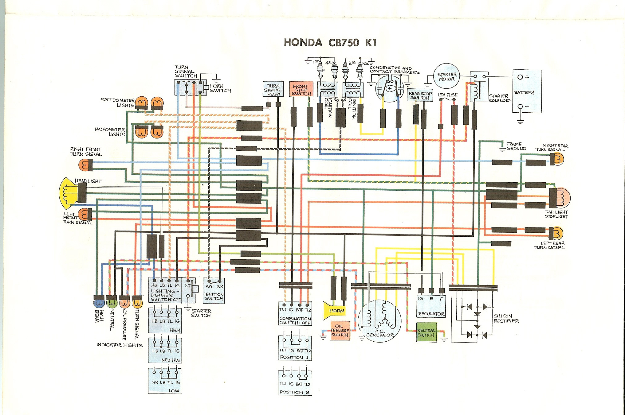 1978 Honda Cb750k Wiring Diagram Trusted Diagrams Basic Ignition Switch 1976 Cb750 Detailed Schematics Specifications