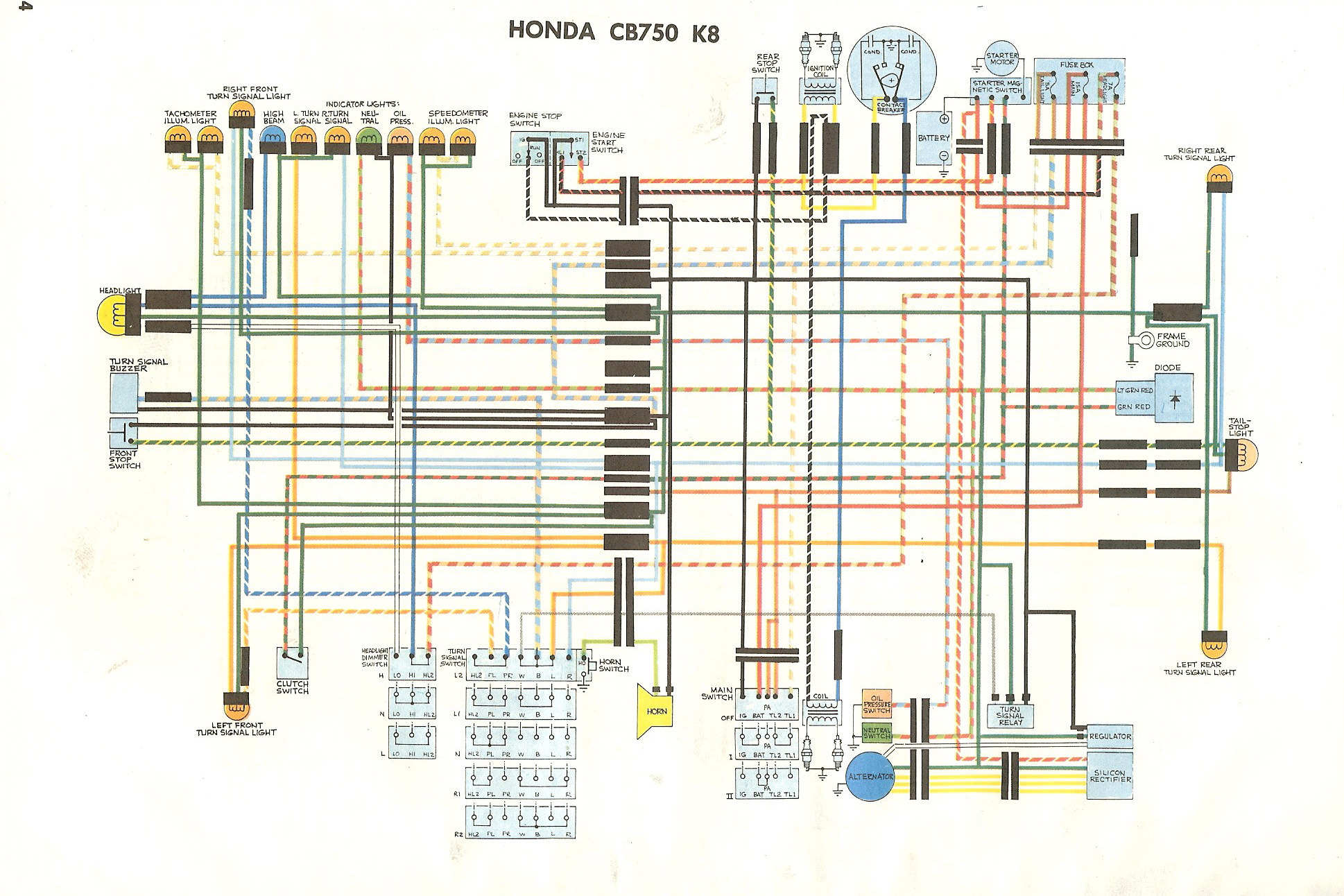 Honda Cb750 Wiring Data Diagram Today Turn Signal Wire Cb750k 77