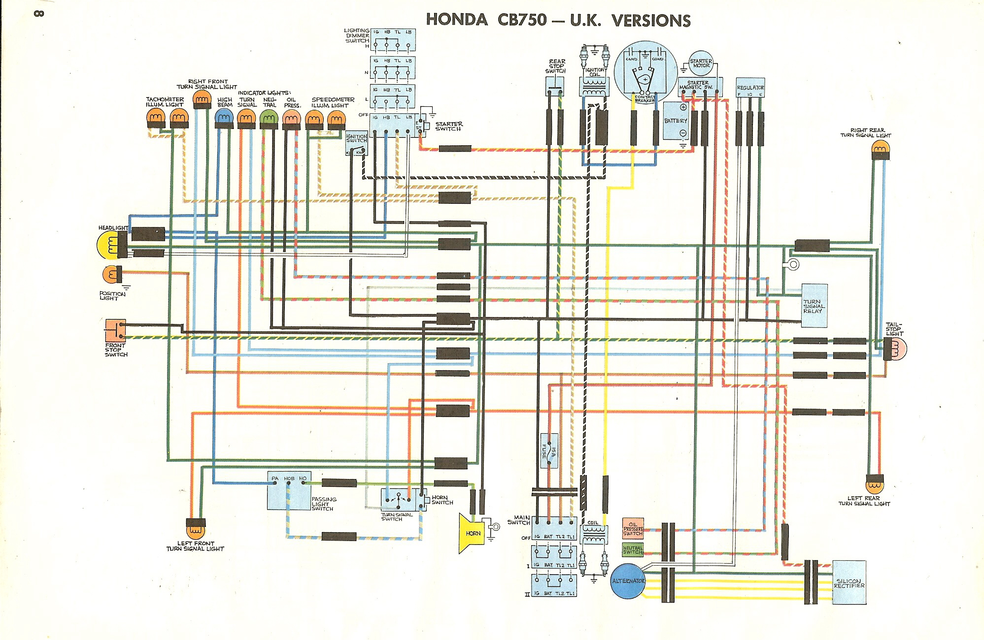1975 cb750 wiring diagram #15 1971 Honda 750 Four Wiring-Diagram 1975 cb750 wiring diagram